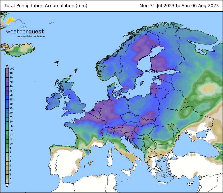 Average Rainfall Map Europe.Weatherquest